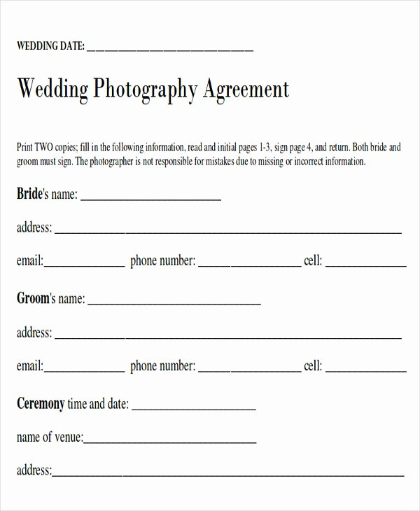 Wedding Photography Contract Template Word Best Of Sample Wedding Contract Agreements 9 Examples In Word Pdf