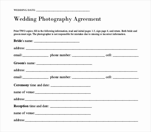Wedding Photography Contract Template Word Best Of Wedding Templates – 15 Free Word Excel Pdf Psd
