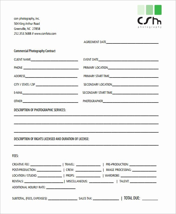 Wedding Photography Contract Template Word Fresh 20 Graphy Contract Template