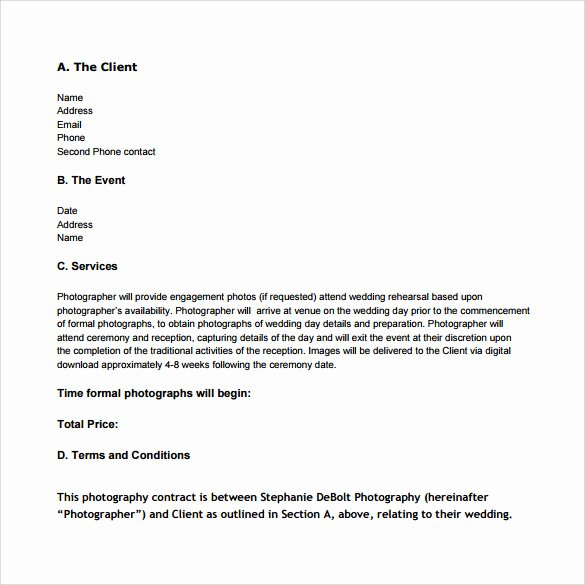 Wedding Photography Contract Template Word Fresh Wedding Graphy Contract Template 14 Download Free