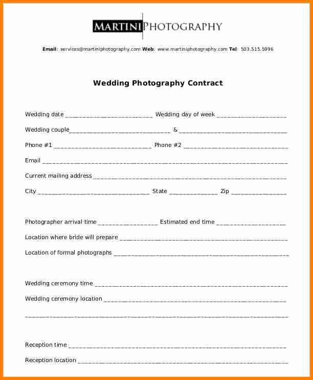 Wedding Photography Contract Template Word Luxury 12 Simple Photography Contract