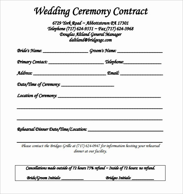 Wedding Photography Contract Template Word Luxury Wedding Contract Template 24 Download Free Documents