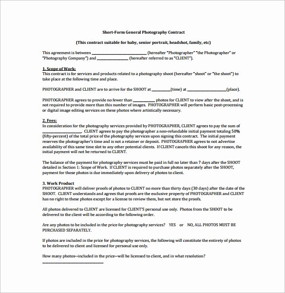 Wedding Photography Contract Template Word New 13 Graphy Contract Templates – Pdf Word Pages