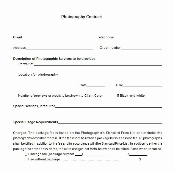 Wedding Photography Contract Template Word Unique Mercial Graphy Contracts Templates Templates