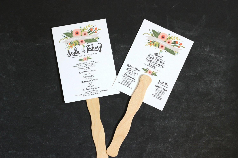 Wedding Program Fan Kit Awesome Wedding Program Fan Printable Whimsical Floral Unique Design