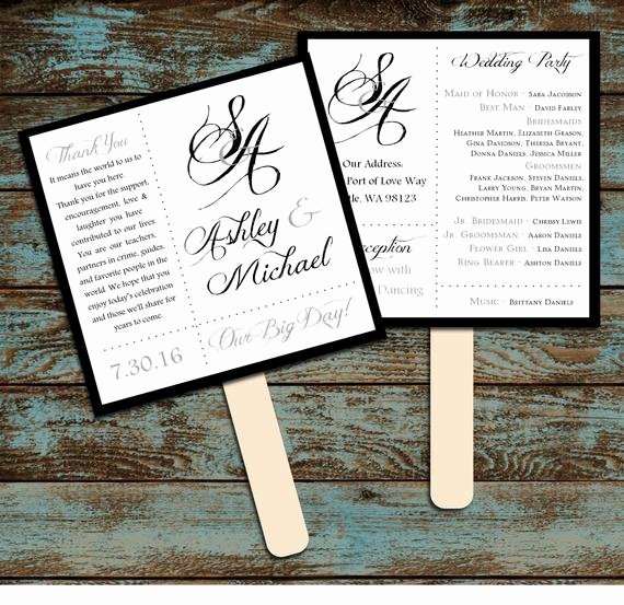 Wedding Program Fan Kit Best Of Monogram with Ampersand Program Fans Kit Printing Included