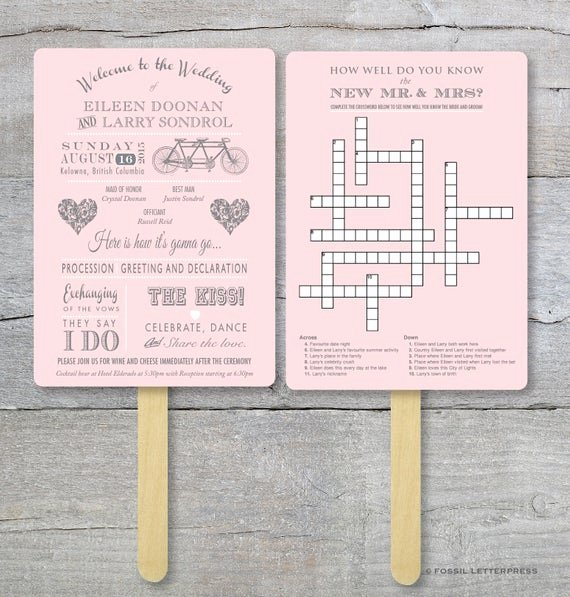 Wedding Program Fan Kit New Wedding Crossword Puzzle Program Fan Kit Tandem Bike