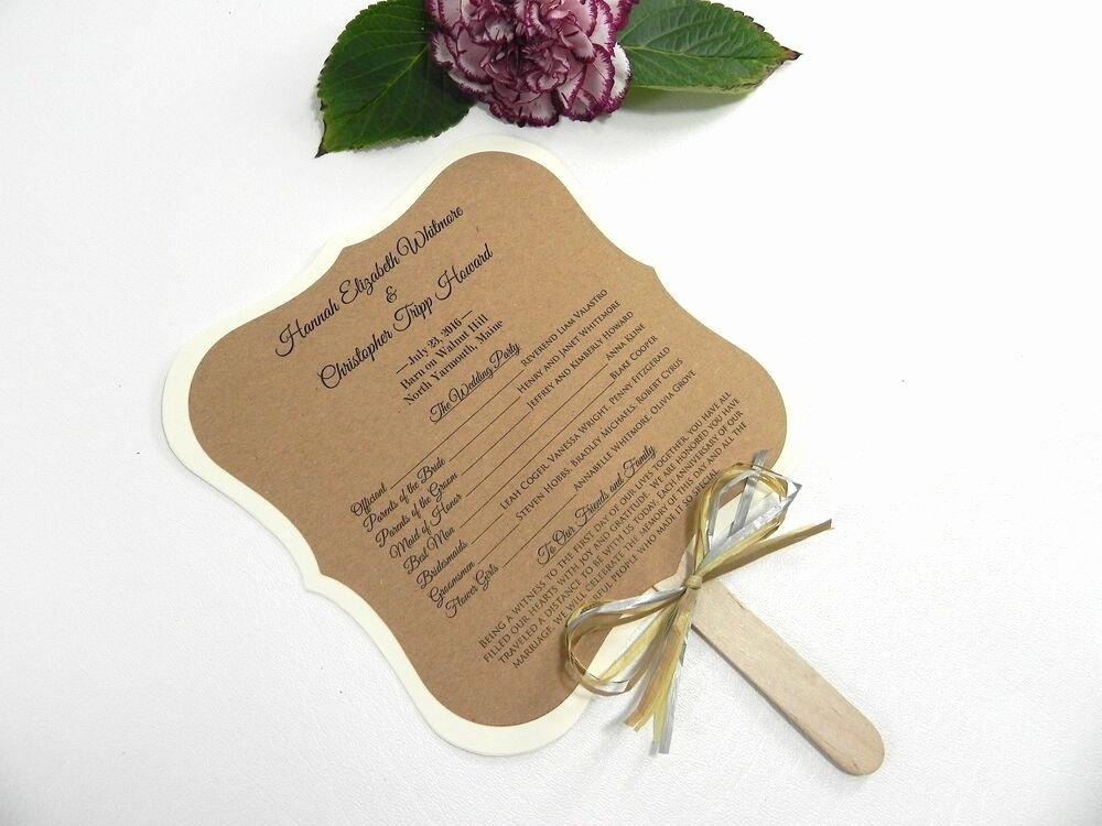Wedding Program Fans Kit Luxury Diy Kit Custom Rustic Wedding Program Fans Personalized