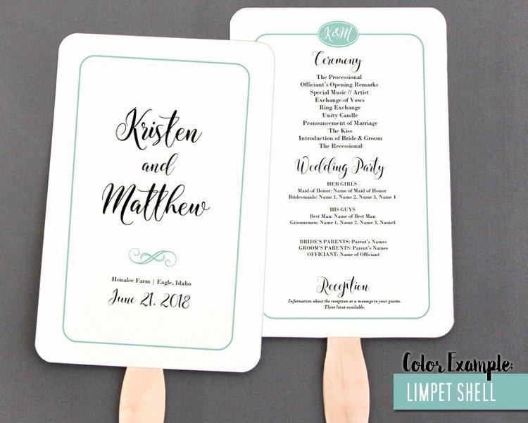 Wedding Program Fans Kit Luxury Simple Border Script Wedding Program Fan Cool Colors