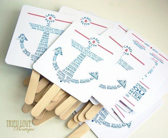 Wedding Program Fans Kit New Items Similar to Anchor