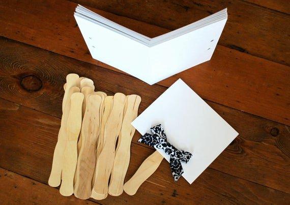 Wedding Program Fans Kit Unique Items Similar to Free Hole Punch Included Diy Program