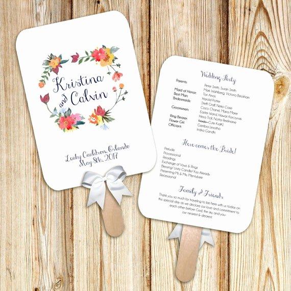 Wedding Program Fans Kit Unique Printable Wedding Program Fan Digital File Diy Watercolor
