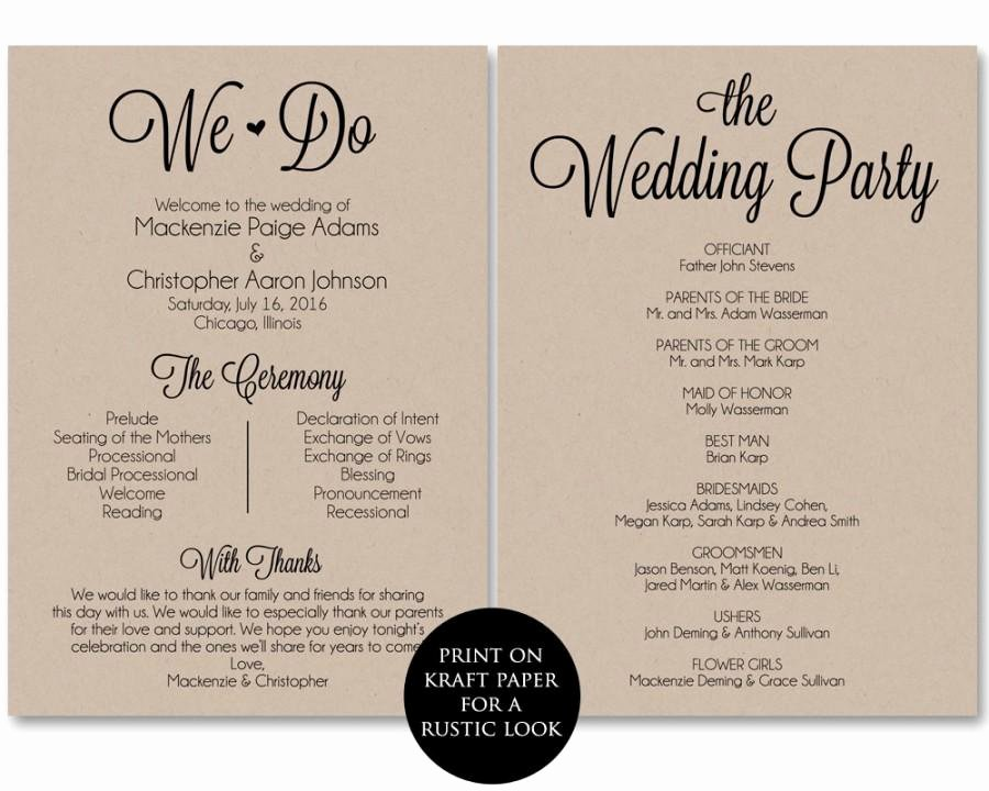 Wedding Program Template Free Download Best Of Ceremony Program Template Wedding Program Printable We