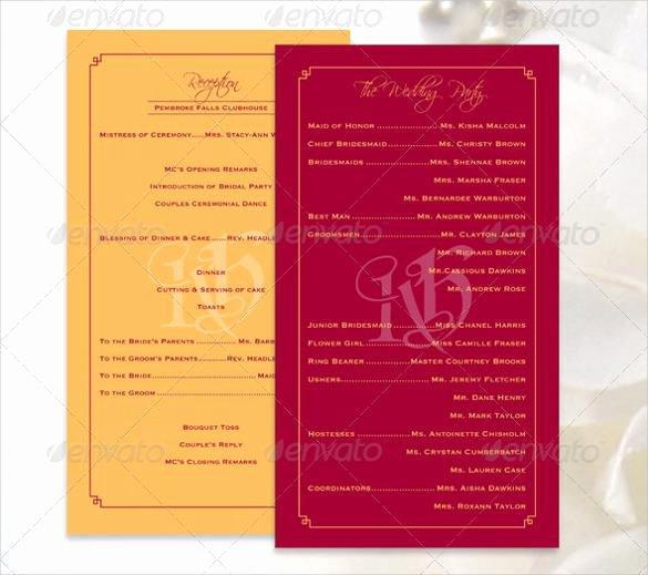 Wedding Program Template Free Download Elegant 44 Wedding Program Templates Free Download