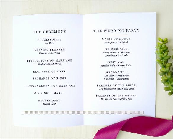 Wedding Program Template Free Download Elegant 44 Wedding Program Templates Free Download
