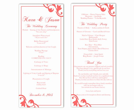 Wedding Program Template Free Download Elegant Wedding Program Template Diy Editable Text Word File
