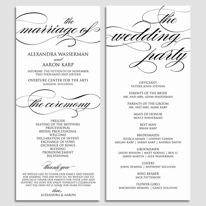 Wedding Program Template Free Download Elegant Wedding Program Template Wedding Program by Modernsoiree