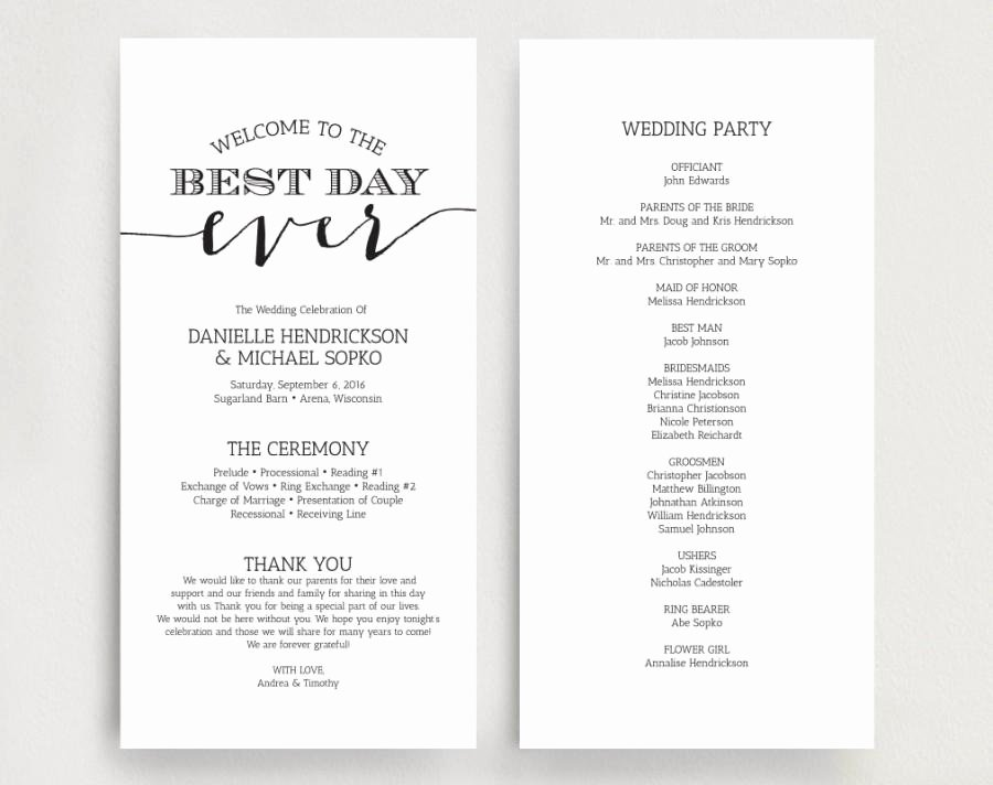 Wedding Program Template Free Download Elegant Wedding Programs Wedding Program Instant Download
