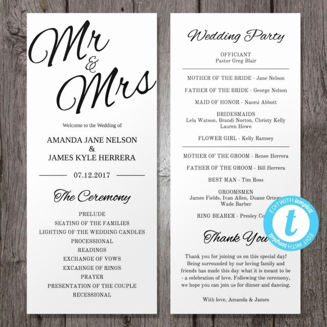 Wedding Program Template Free Download Fresh Printable Wedding Program Template Mr & Mrs Instant