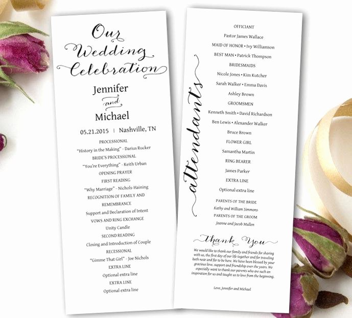 Wedding Program Template Free Download Inspirational Wedding Program Printable Wedding Program Template Tea