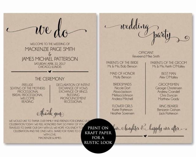 Wedding Program Template Free Download Inspirational Wedding Program Template Wedding Program Printable We Do
