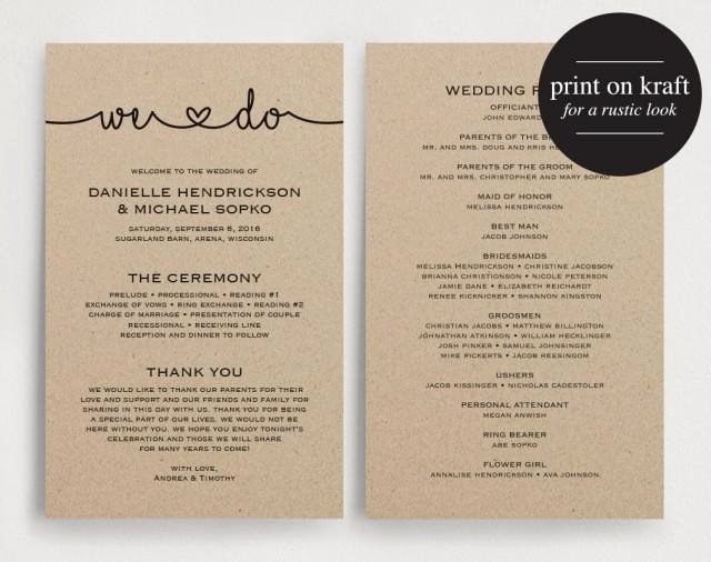 Wedding Program Template Free Download Inspirational Wedding Programs Instant Download Printable Template