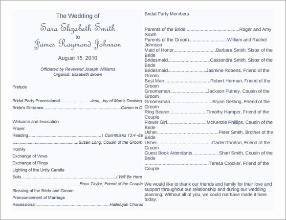Wedding Program Template Free Download Lovely 8 Word Wedding Program Templates Free Download