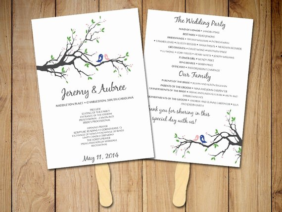 Wedding Program Template Free Download Lovely Diy Wedding Program Fan Template Rustic Ceremony Program