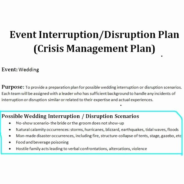 Wedding Project Plan Awesome Sample Of A Crisis Management Plan for Wedding events