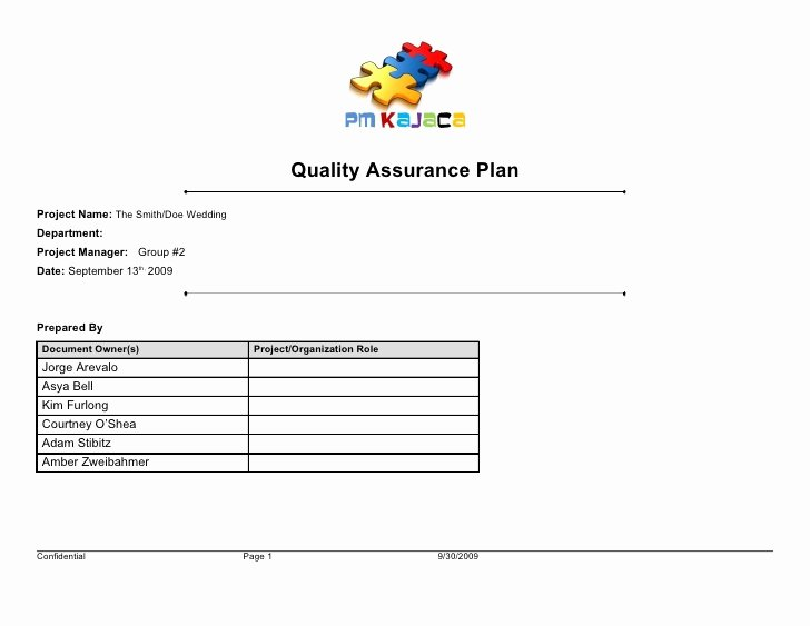 Wedding Project Plan Beautiful Quality assurance Plan