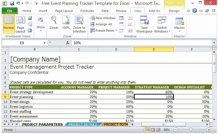 Wedding Project Plan Excel New Free event Planning Tracker Template for Excel