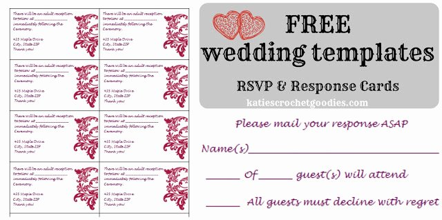 Wedding Rsvp Postcard Templates Beautiful Free Wedding Templates Rsvp & Reception Cards Katie S