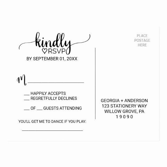 Wedding Rsvp Postcard Templates Beautiful Simple Black & White Calligraphy song Request Rsvp