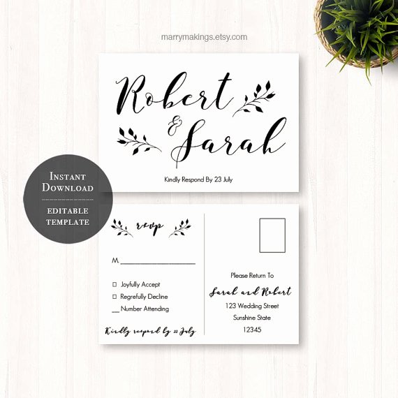 Wedding Rsvp Postcard Templates Best Of Diy Wedding Rsvp Rsvp Template Wedding Printable
