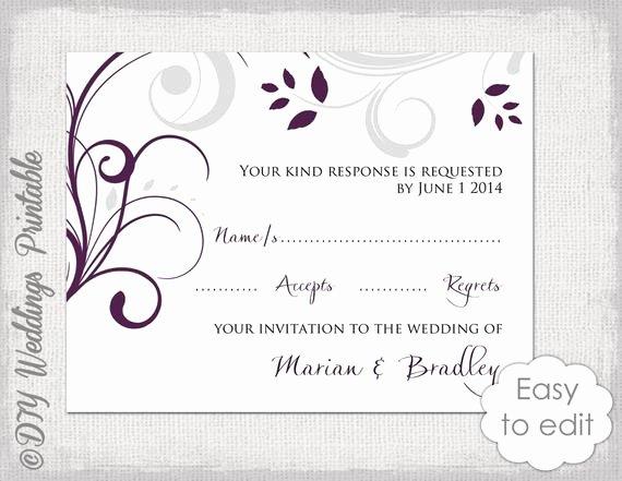 Wedding Rsvp Postcard Templates Best Of Wedding Rsvp Template Diy Plum & Silver Gray