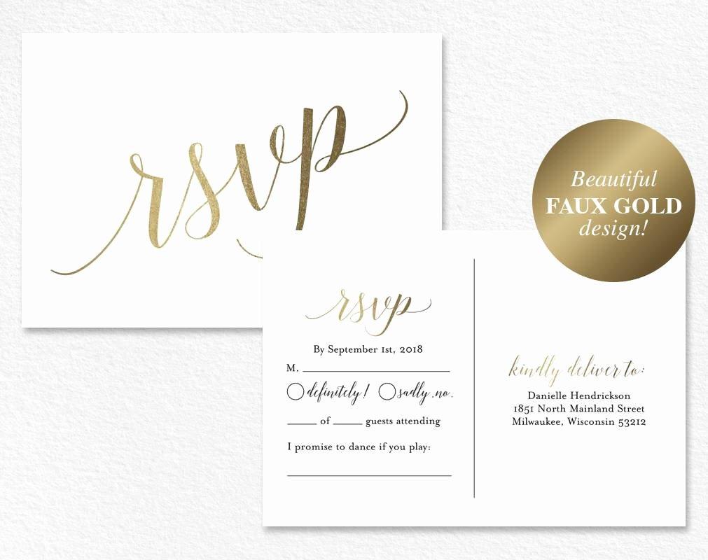 Wedding Rsvp Postcard Templates Elegant Faux Gold Rsvp Postcard Rsvp Postcard Rsvp Template