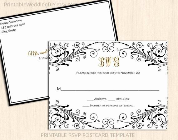 Wedding Rsvp Postcard Templates Fresh Elegant Wedding Rsvp Postcard Template Wordc Response