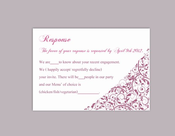 Wedding Rsvp Postcard Templates Lovely Diy Wedding Rsvp Template Editable Text Word File Download
