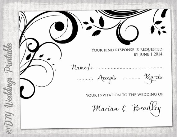Wedding Rsvp Postcard Templates Unique Rsvp Template Diy Black and White Scroll