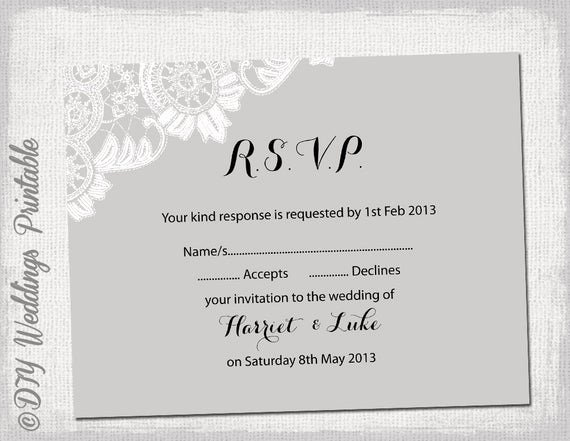 Wedding Rsvp Postcards Template Awesome Wedding Rsvp Template Diy Silver Gray Antique