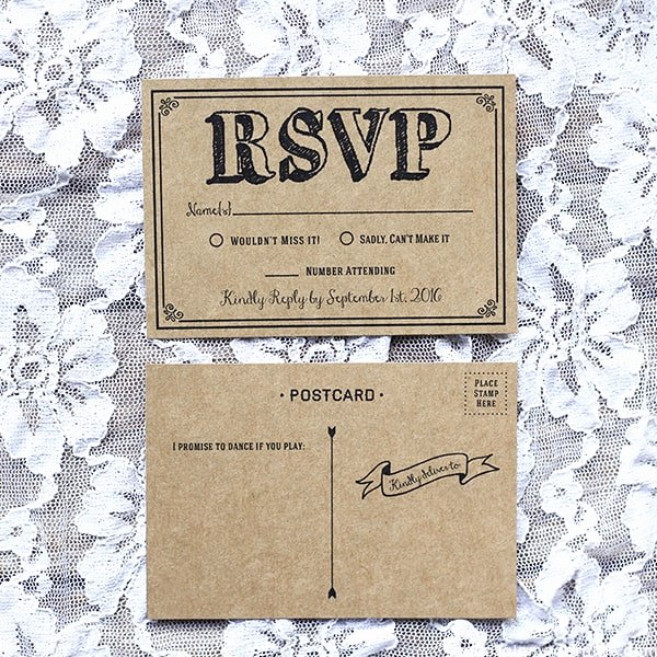 Wedding Rsvp Postcards Template Best Of Black Rustic Vintage Diy Wedding Invitation Set