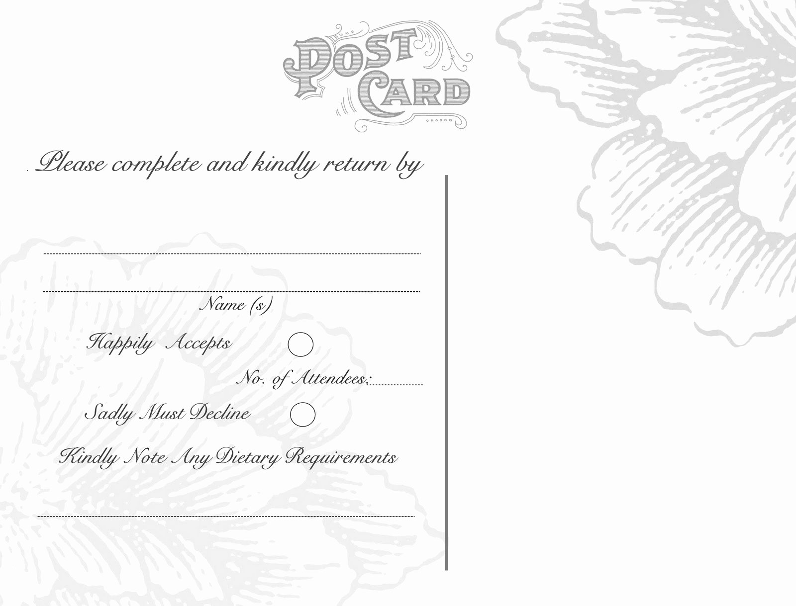 Wedding Rsvp Postcards Template Best Of Omg My Diy Wedding Free Vintage Postcard Back & Peony