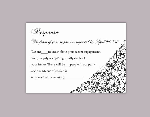 Wedding Rsvp Postcards Template Elegant Diy Wedding Rsvp Template Editable Text Word File Download