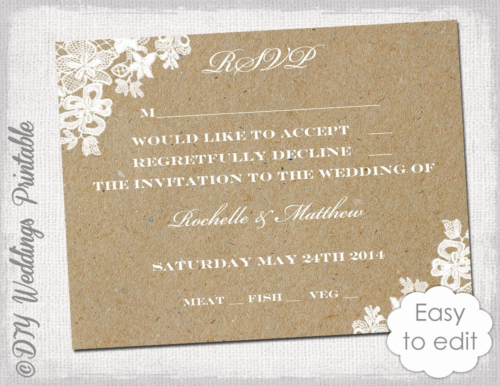Wedding Rsvp Postcards Template Elegant Wedding Rsvp Template Rustic Lace Printable