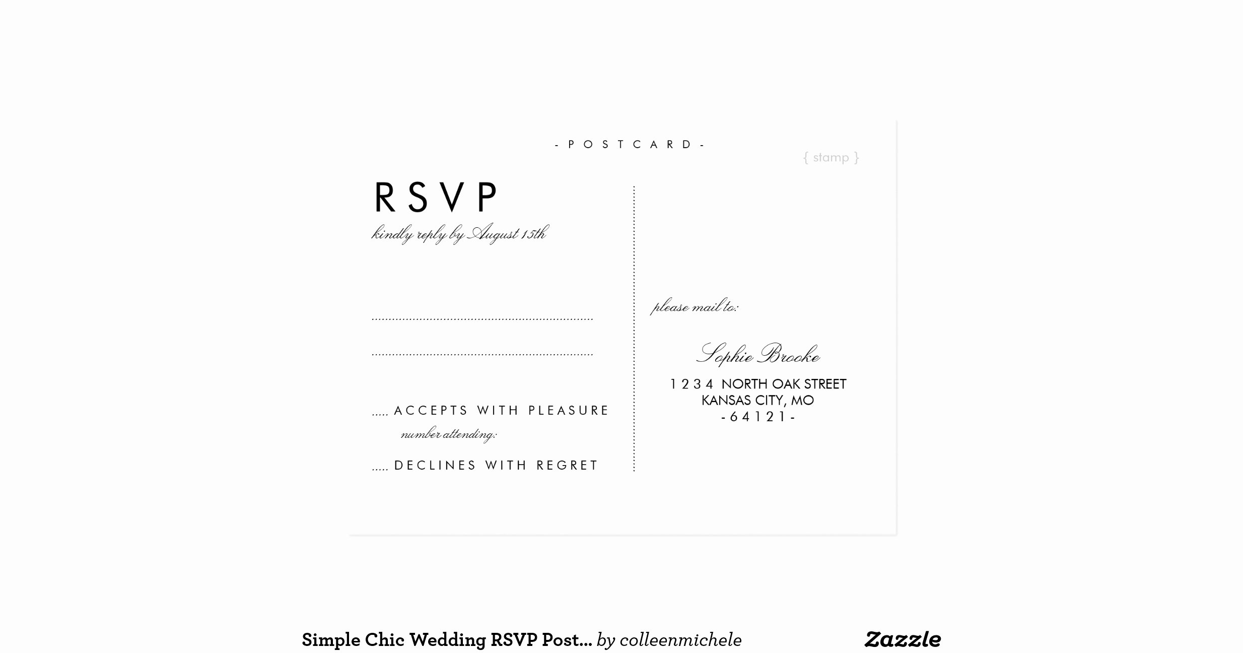Wedding Rsvp Postcards Template Fresh Simple Chic Wedding Rsvp Postcard Template