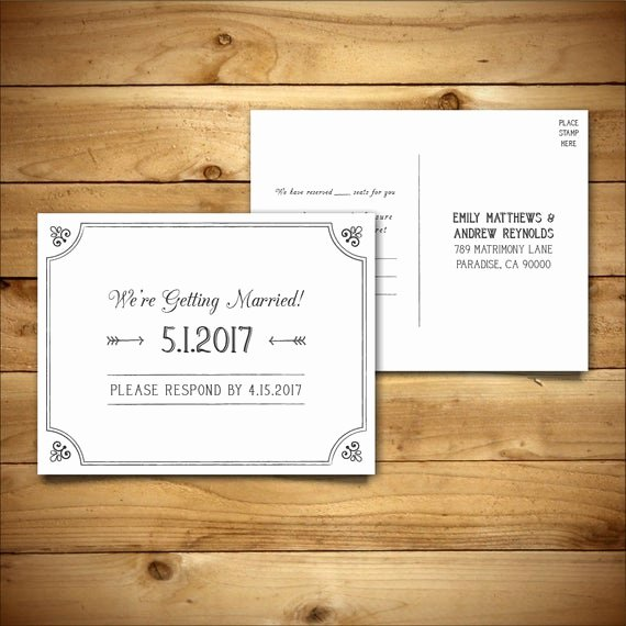 Wedding Rsvp Postcards Template Luxury Rsvp Diy Wedding Template Rsvp Postcard Template Rustic