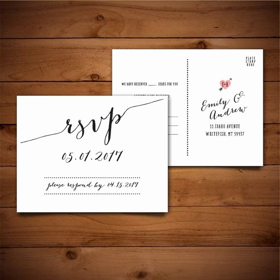 Wedding Rsvp Postcards Template New Printable Wedding Postcard Rsvp Response Card by