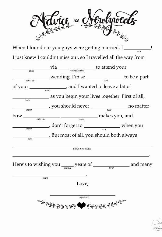 Wedding Shower Mad Lib Template Awesome Free Printable Wedding Mad Libs