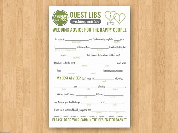 Wedding Shower Mad Lib Template Beautiful Diy Printable Wedding Mad Libs Guestbook Colors Customizable