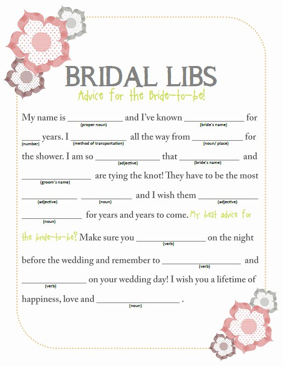 Wedding Shower Mad Lib Template Beautiful something Borrowed Bridal Shower Bridal Libs Free